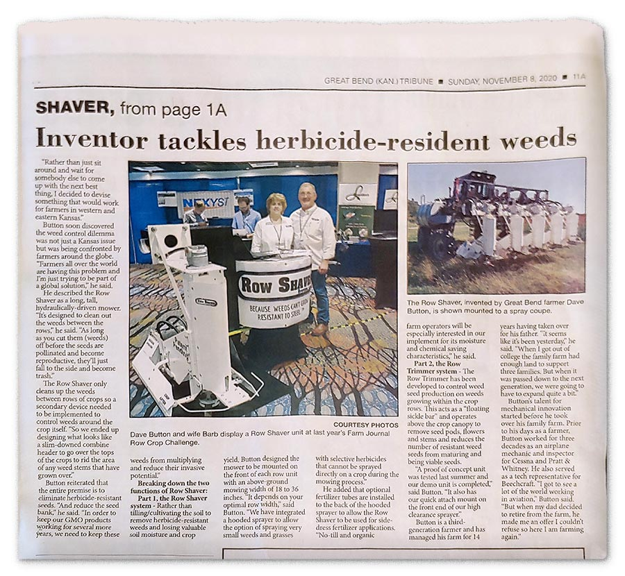 Row Shaver Great Bend Newspaper Feature